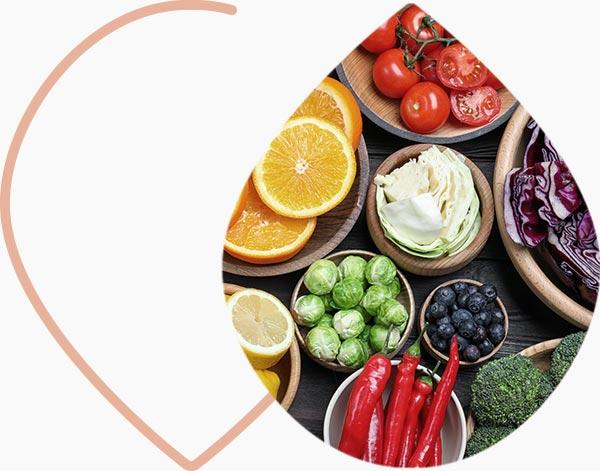 Fruits et légumes frais riches en vitamine c